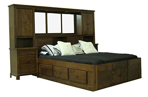 Pier Queen Wall (Forest Designs Shaker Queen Pier Wall: 129W x 72H x 18D - Two Drawers and Keyboard Pullout (No Bed) King Cherry Oak)