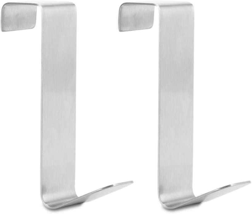 2 Pack Over The Cabinet Door Hooks, Stainless Steel Over Door Cabinet Drawer Hooks,Z Shaped Hanging Hooks Over The Cupboard Door,Drawer, for Towels, Hats, Hand Bags, Kitchen, Bedroom Hold Up to 22Lbs