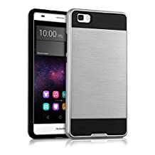 kwmobile Hybrid case Design Brushed for Huawei P8 Lite (2015) in silver black
