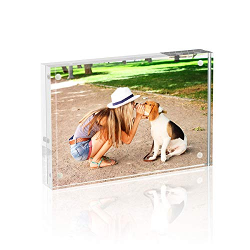 TWING Premium Acrylic 6x8 Picture Frames - Magnet Photo Frame -Double Side Thick Desktop Frames with Free Microfiber Cloth