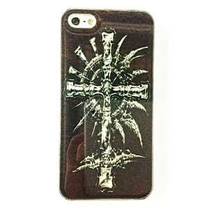 CL - Cross Skull Feather Patrón TPU caso suave para el iPhone 5/5S , Multicolor