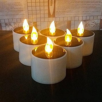 Solar Candles Lights, Lemon Hour Outdoor LED Solar Tea Lights with Romantic Atmosphere, Solar Energy Candle Lamp for Home, Party, Valentine and Festival Decor, Yellow Flickering, 6 Pack
