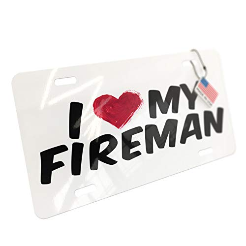NEONBLOND I Heart Love My Fireman Aluminum License Plate ()