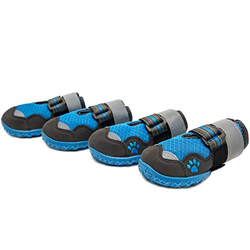 okdeals Dog Boots, Lightweight Dog Mesh Shoes, Breathable Dog Shoes Paw Protectors with Reflective and Waterproof Rugged Anti-Slip Sole (4,Blue)