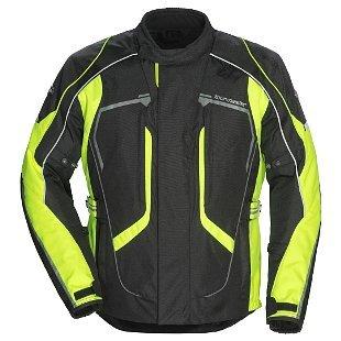 Textile Rocket Joe Suzuki (Tourmaster XF-10-8736-0113-19 Advanced Jacket, Distinct Name: Black/Hi-Viz Yellow, Gender: Mens/Unisex, Primary Color: Black, Size: 3XL, Size Modifier: Tall, Apparel Material: Textile)