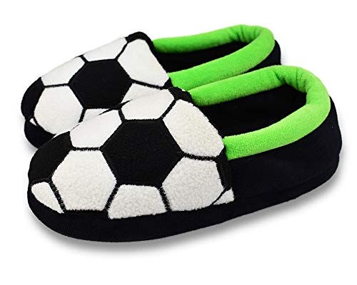 Big Kids Boy's Warm Plush Indoor Slippers with Soft Memory Foam Slip-on Shoes Size 1-2 US Black Football
