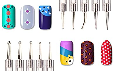 Beaute Galleria 5pcs (10sizes) 2-way Dotting Tool Pen Nail Art Design Painting Drawing Marbleizing Acrylic UV Gel Manicure Professional Nail Salon Tool