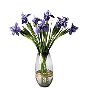 Skyseen 6Pcs Artificial Silk Flower Bridal Real Touch Iris Flower for Wedding Party Banquet Home Decoration Blue 63