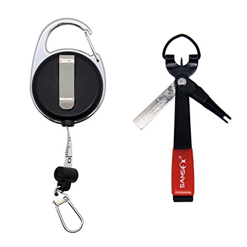 SAMSFX Fishing Quick Knot Tool with Fly Fishing Carabiner Tape Measure Zinger Retractor (Black Knot Tool with Measuring Tape - Tying Fly Fishing Fly And