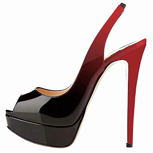 Chris-T Women's Red-Black Fashion Slingback Thin High Heels Platform Pumps 5(M US