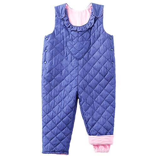 Y·J Back home Little Girl Adjustable Denim Overalls Winter Toddler Kids Quilted Puffer Snowsuit Snow Ski Bib Pants with Heart Pockets and Ruffle Collar,18-24 Months