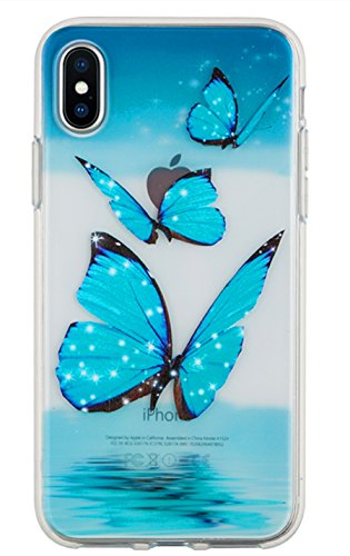 for iPhone XR Case, 3Cworld Girl Floral Ultra Thin Clear Art Pattern Crystal Gel TPU Rubber Flexible Slim Skin Soft Case for iPhone XR (Butterfly Ocean - Sky Blue)