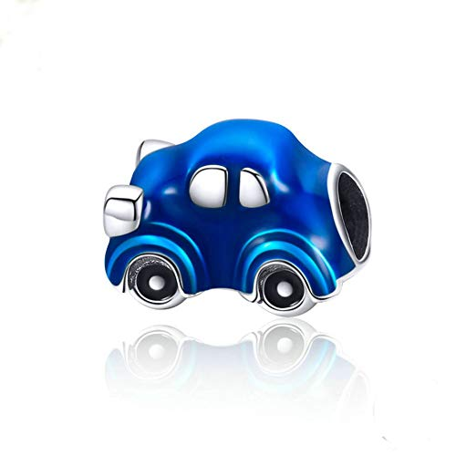 Beauty Blue Car Charm 925 Sterling Silver Retro Car Charm Bead for Bracelet or Necklace