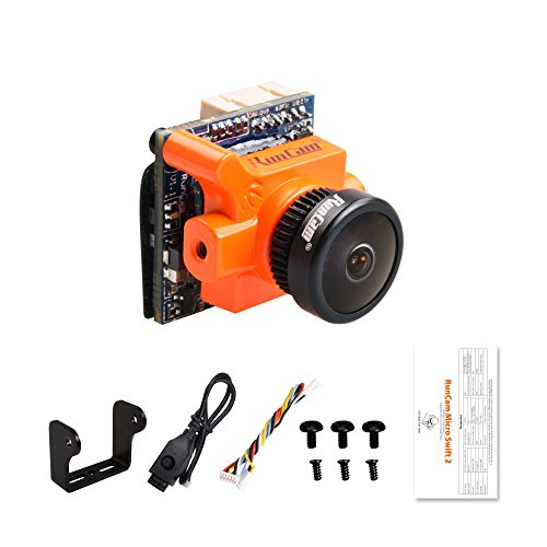 RunCam FPV Camera Micro Swift 2 2.1mm Lens OSD 5-36V FOV 160 Degree CCD NTSC IR Blocked for Racing Drone Quadcopter (Orange)