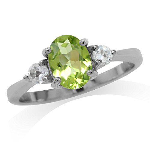 1.23ct. Natural Peridot & White Topaz Gold Plated 925 Sterling Silver Engagement Ring Size 11