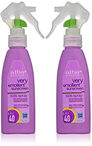 Alba Botanica Natural Protection Kids Spray SPF 40 Very Emollient Sunscreen, 4 Ounce Spray Bottle (2 Pack)