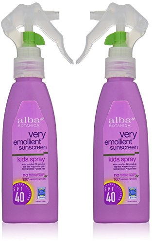 Alba Botanica Natural Protection Kids Spray SPF 40 Very Emollient Sunscreen, 4 Ounce Spray Bottle