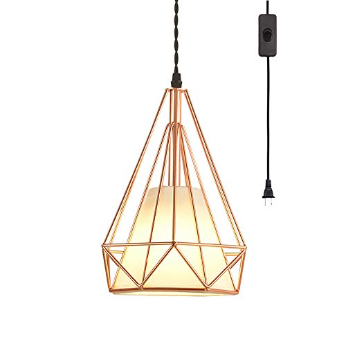 EFINEHOME Geometric Cage Swag Light, Modern Industrial 1-Light Plug-in Pendant Light, Rose Gold, 15 Foot Black Designer Cloth Rope in-Line On/Off Switch White Lampshade ()