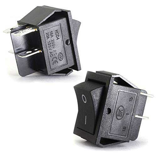 (Magic&shell 2-Pack Rocker Power Switch 16A 250V AC 4 Pin 2 Position ON/Off Power Switch DPST Black Button)