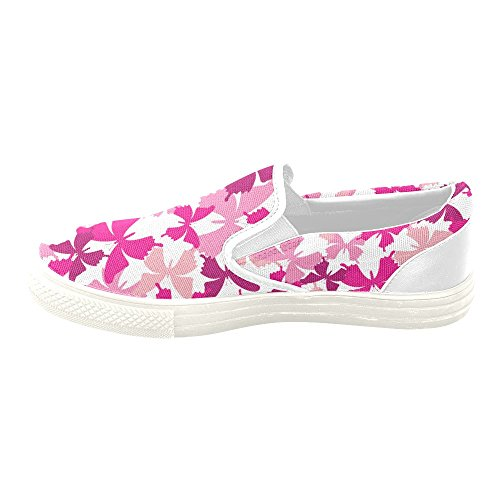 D-story Custom Sneaker Pink Butterfly Mujeres Zapatos De Lona Antideslizantes Inusuales