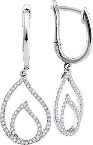 10kt White Gold Womens Round Diamond Double Nested Teardrop Dangle Earrings 1/3 Cttw = 0.33 Cttw (I2-I3 clarity; J-K color)