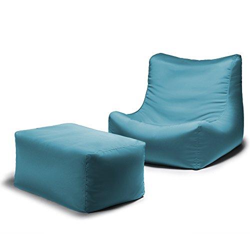 Cheap Jaxx Ponce Outdoor Bean Bag Lounge Chair & Leon Ottoman, Lagoon