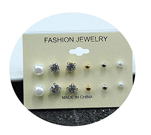 Endand Fashion sets Round Square Ball Alloy Crystal Stud pearl Earrings For Women Hot-selling Cute stud earrings Sets,e0126