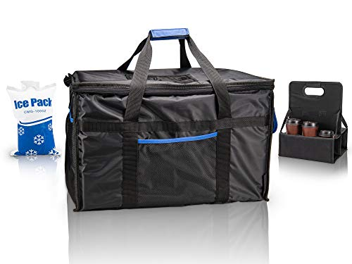 Ultimate Insulated Food Delivery Bag With Drink Carrier + [Free Ice Pack] -Thick insulation for hot or cold foods   23