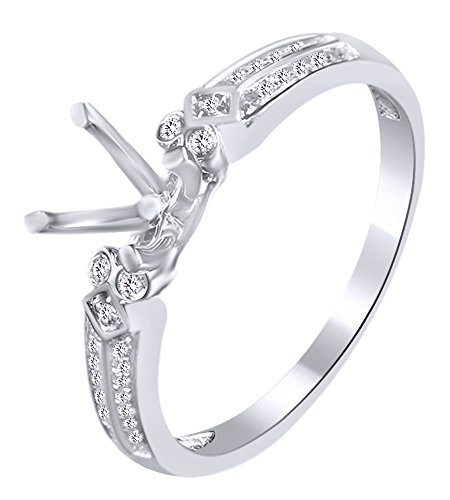 White Natural Diamond Semi Mount Ring Mm In 10k White Gold (0.15 Cttw) Ring Size-4