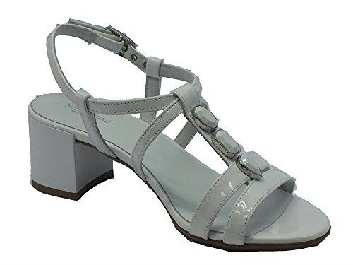 Nero Giardini - Sandalias de vestir de tela para mujer Blanco blanco