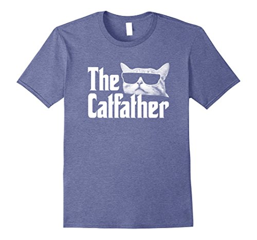 Mens The Catfather T-Shirt Funny Gift Shirt for Cat Daddy Large Heather Blue