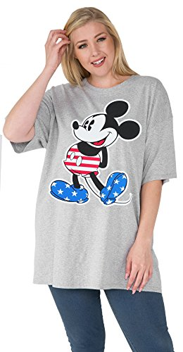 Disney Women Plus Size T-Shirt Mickey Mouse American Flag Print (Disney Memorial)