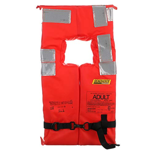 Seachoice 85900 Type I Commercial Offshore Vest - Fluorescent Orange, Reflective Panels, Adult - Over 90 Pounds