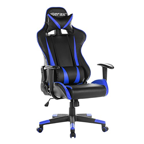 Price comparison product image Merax Racing Gaming High-Back Chair Ergonomic Design Computer Chair PU Leather Home Office Chair (blue)