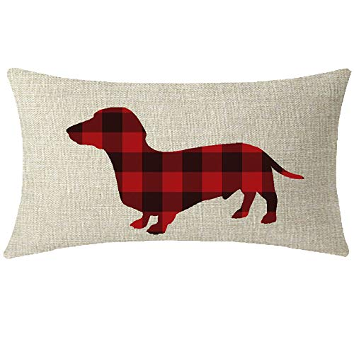 NIDITW Sister Vintage Black and Red Buffalo Checkers Plaids Dachshund Lumbar Waist Cotton Linen Decorative Throw Pillow Sham Cushion Case for Sofa Couch Outdoor Oblong 12x20 inches
