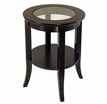 Frenchi Furniture Wood Genoa End Table, Round Side /Accent Table , Inset  Glass