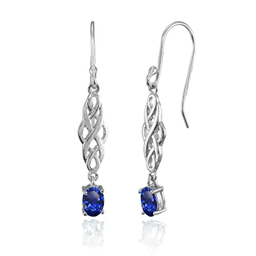 Sterling Silver Created Blue Sapphire Oval Celtic Knot Drop Dangle Earrings