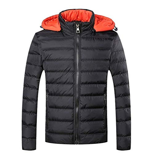 Adelina Men's Winter Leisure Thicken Waterproof Windproof Coat Down Warmth Rme Chaude with Detachable Hood Soft Stand Collar Quilted Jacket Outdoor Padded Parked Schwarz
