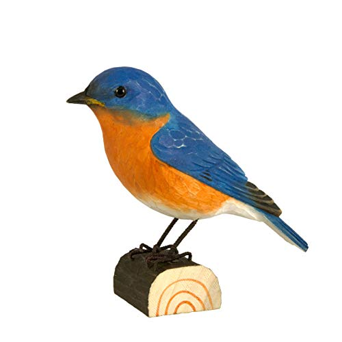WILDLIFEGARDEN Eastern Bluebird DecoBird, Hand-Carved Wood Replica for Indoor or Outdoor Use, Artisanal Life-Like Figurine Designed in Sweden