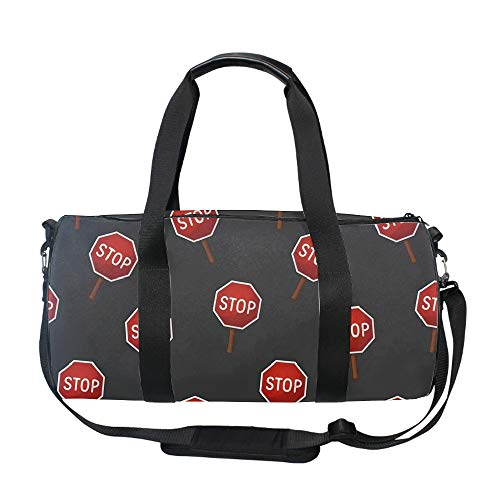 Red Stop Signs Travel Duffel Bag Foldable Large Travel Bag Weekend Bag Checked Bag Luggage Tote 17.6 x 9 x 9 inches