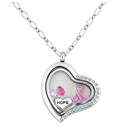 Breast Cancer Awareness Pink Ribbon Hope Floatimg Charms Memory Living Locket Magnetic Necklaces Pendant