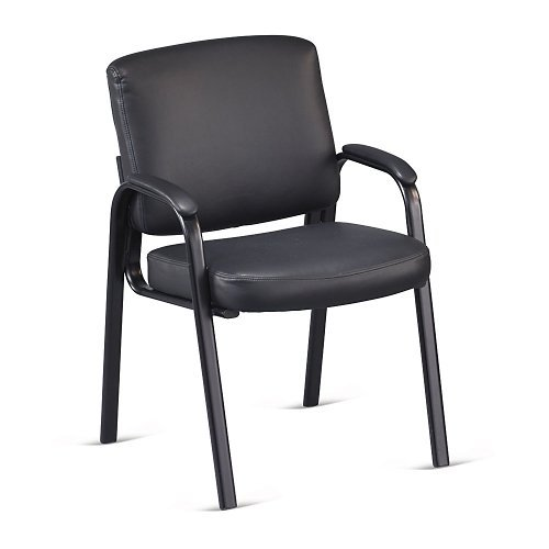 Officient Austin Collection Padded Arm Guest Chair in Black Faux Leather with Black ()