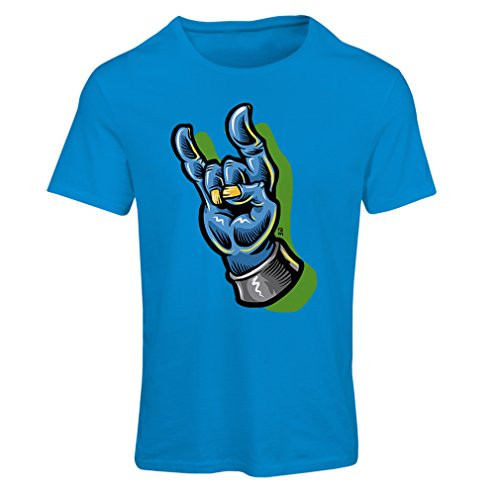 T Shirts for Women Zombie Hand A Rock and Roll Symbol, Sign of The Horns, Heavy Metal Sign (X-Large Blue Multi Color)