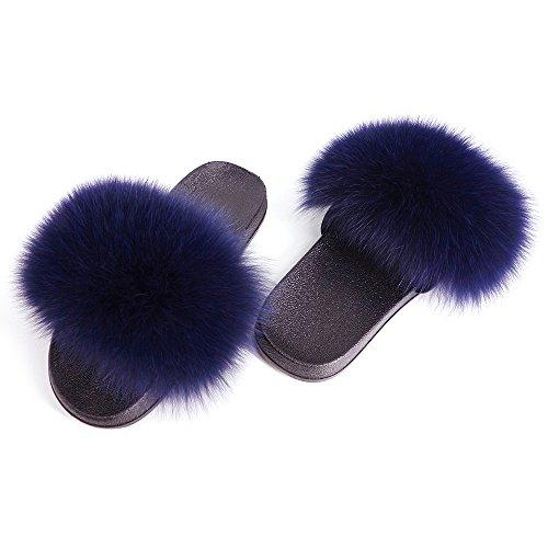 Toe Fox Women Dark Blue Feather Leather Vesa Fur Vegan On Single Sandals Open Real Strap Manka Slip qTtHxz4