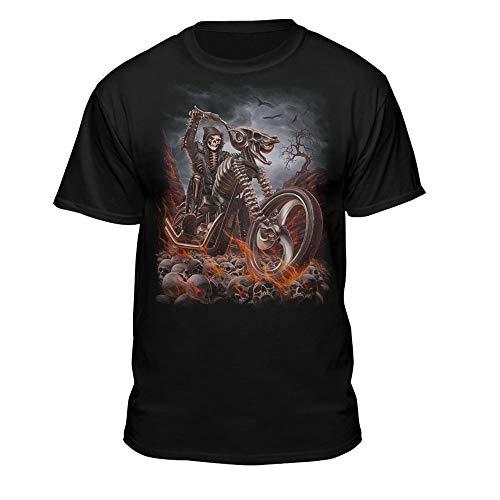 Grim Reaper Goth Biker Rock Flames Skull Motorcycle T-Shirt (X-Large) Black