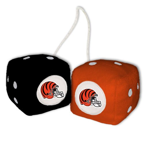 Bengals Plush Fuzzy Dice Ornaments