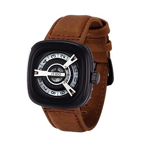 ISIDO Mens Watches - Waterproof Brown Quartz Wrist WatchesforMen - Luxury Fashion Industrial Spirit WatchesforWomen with Genuine Calf LeatherWatch Straps ()