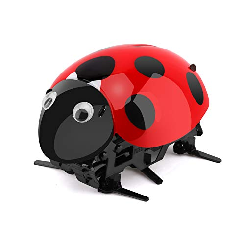 Zooawa Intelligent Pet Robot, Wireless Remote Control Electronic Toy RC Digital Pet for Kids Over 7 Years Old, 2 x AAA Batteries Needed [NOT Included], Black + - Ladybug Robotic
