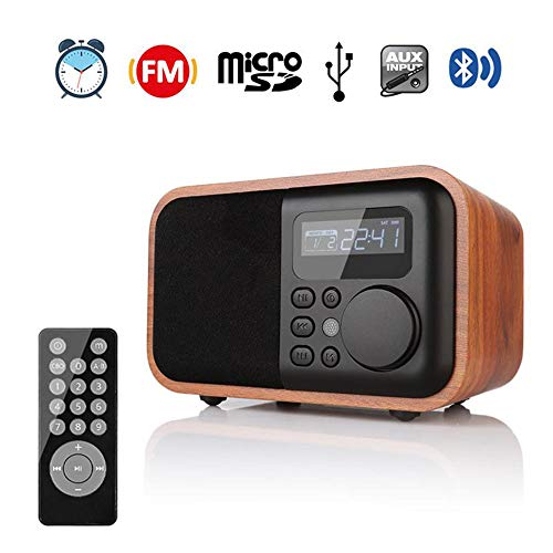 QOUP Bluetooth Speaker, U Disk Card Mini Speaker Mini Subwoofer Retro Radio, Bluetooth 4.0, Support Hands-Free Calling, Full-Featured Remote Control Operation