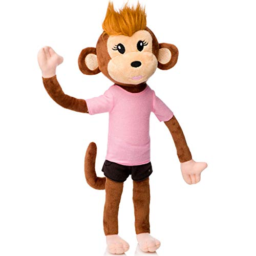 Cute Little Monkey - earthMonkeys Plush Toy Monkey Stuffed Animal Girl | Cute Stuffed Monkey Plush Ever! | Bendable Arms, Legs & Body